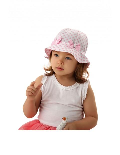 Bawełniany kapelusz dla dziewczynki w różowe kropki rozmiar 50