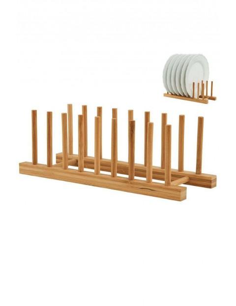 Stojak z drewna bambusowego na talerze