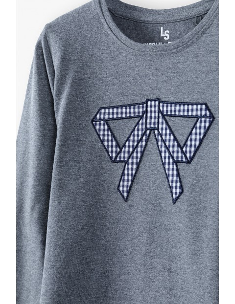 Szara bluzka dziewczęca z kokardką i koszulowym dołem