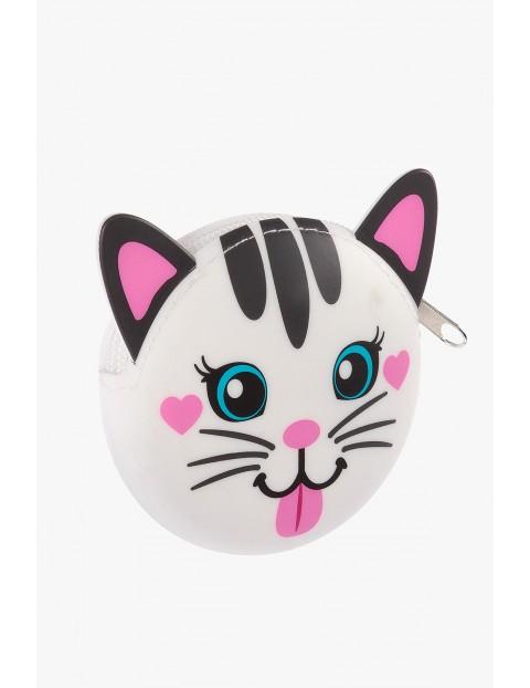 Portfel silikonowy dla dziewczynki- biały kotek