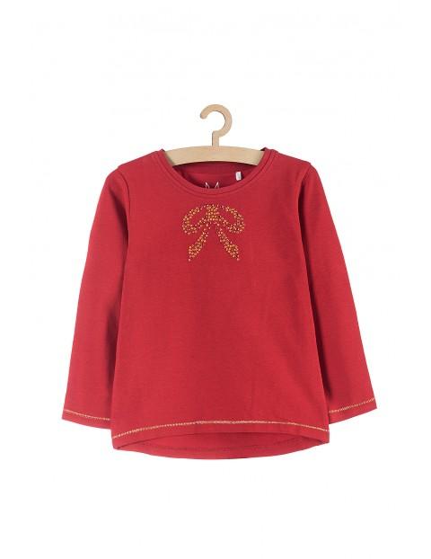 Bluzka dziewczęca czerwona z kokardką z przodu