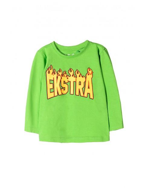 Bluzka chłopięca bawełniana zielona z napisem- ekstra