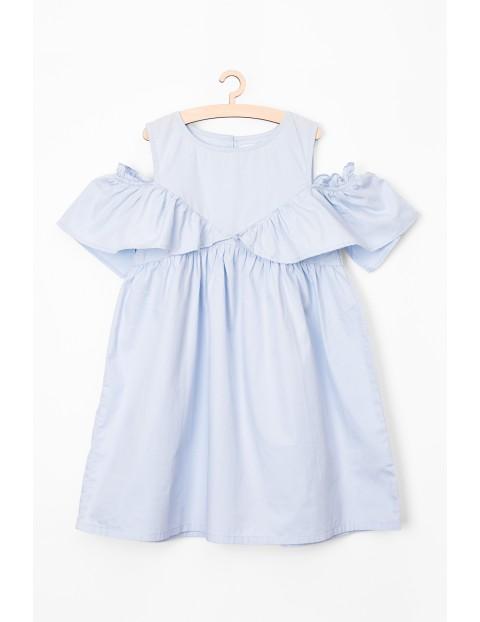 Sukienka dziewczęca niebieska z ozdobną falbanką
