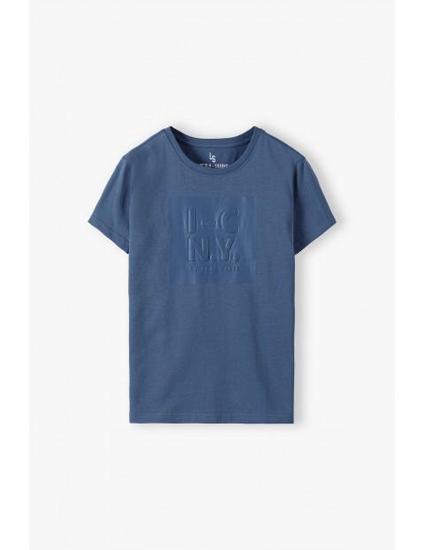 T-shirt chłopięcy z nadrukiem 3D- niebieski