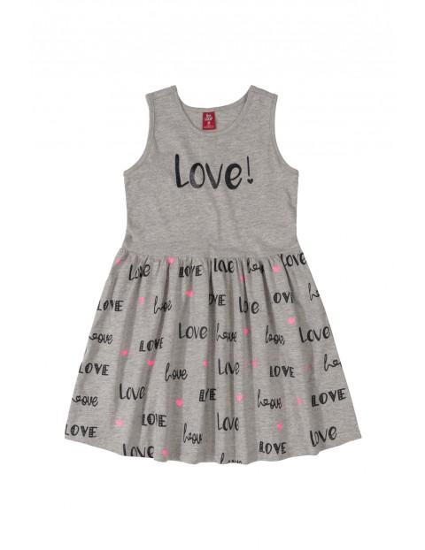 Sukienka dziecięca z napisami Love - szara