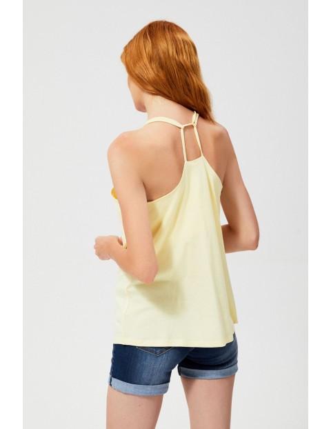 Bawełniany top na podwójnych cienkich ramiączkach żółty