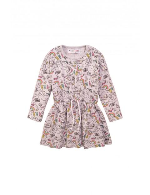 Sukienka niemowlęca szara w jednorożce