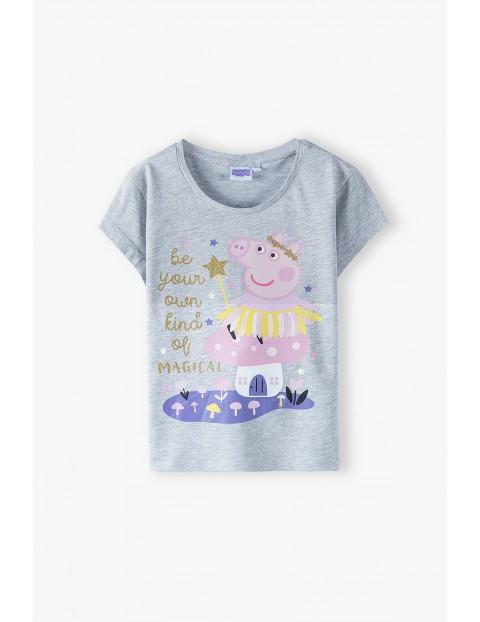 T-shirt dziewczęcy Świnka Peppa- szary