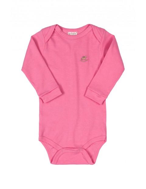 Body niemowlęce z długim rękawem - różowe