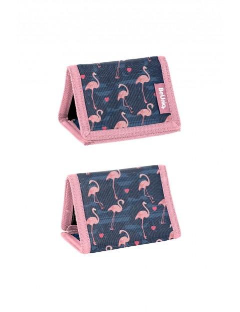 Portfel na rzep - granatowy w flamingi