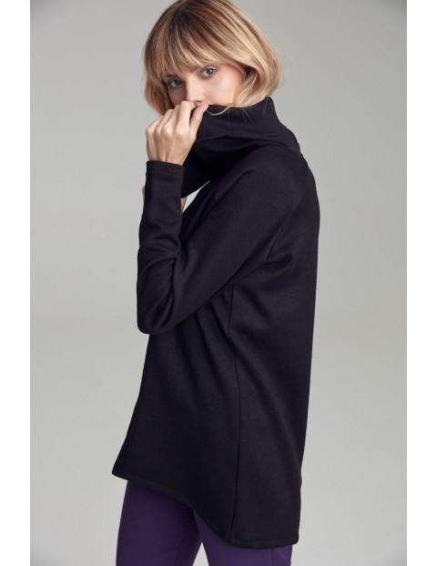 Sweter damski z szerokim golfem - czarny