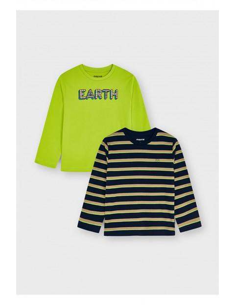 Komplet bawełnianych koszulek chłopięcych z długim rękawem - 2 sztuki