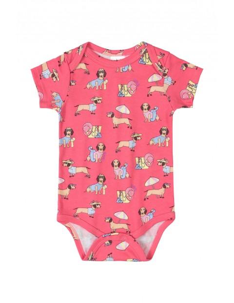 Body niemowlęce  w pieski - różowe