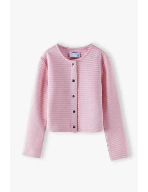 Dzianinowa różowa marynarka dla dziewczynki