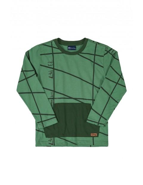 Bluzka chłopięca - zielona z kieszenią z przodu