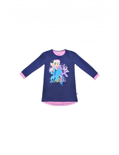 Bawełniana sukienka dziewczęca Pony - granatowa