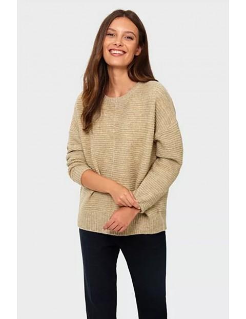 Sweter damski - beżowy w paski