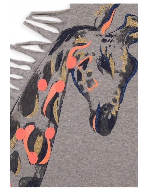 Bluzka dziewczęca szara z żyrafami