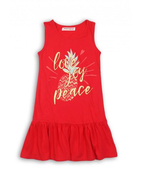 Bawełniana sukienka na lato dla dziewczynki-czerwona z ananasem