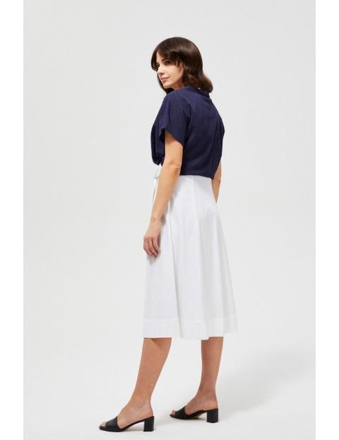 Spódnica damska midi z dodatkiem lnu biała
