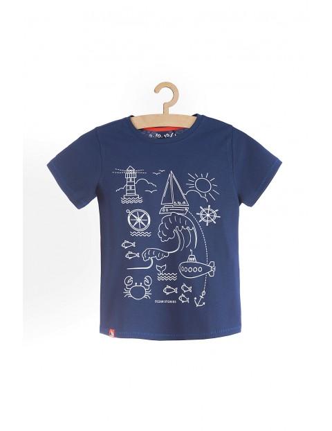 T-shirt chłopięcy granatowy w marynarskie wzory