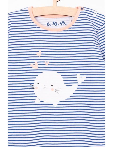 Bluzka bawełniana w paski z ozdobną aplikacją