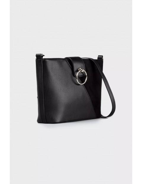 Elegancka torba z łączonych materiałów- czarna