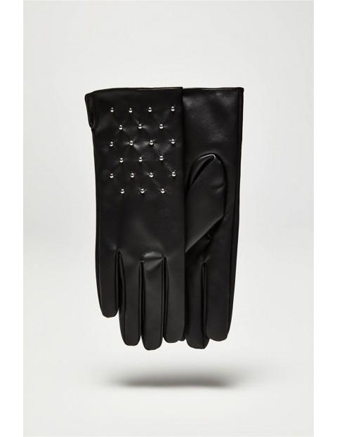 Długie stylowe rękawiczki damskie wykonane ze skóry ekologicznej - czarne