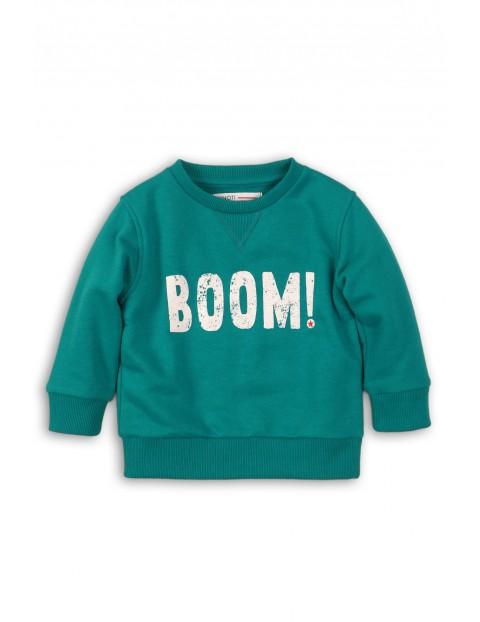 Bluza dresowa chłopięca zielona z napisem BOOM