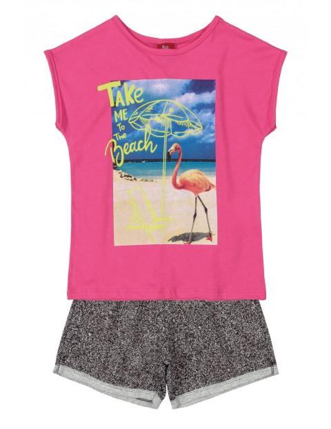 Komplet dziewczęcy t-shirt z nadrukiem i spodenki