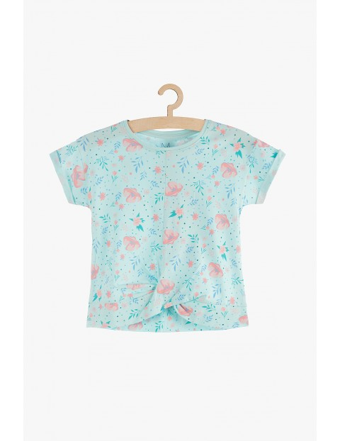 Bluzka dziewczęca na lato- niebieska w kwiaty