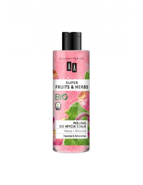AA Super Fruits&Herbs peeling do mycia ciała opuncja&amarantus 200 ml