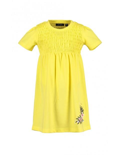 Sukienka dziewczęca żółta z kwiatkami i ozdobnym marszczeniem