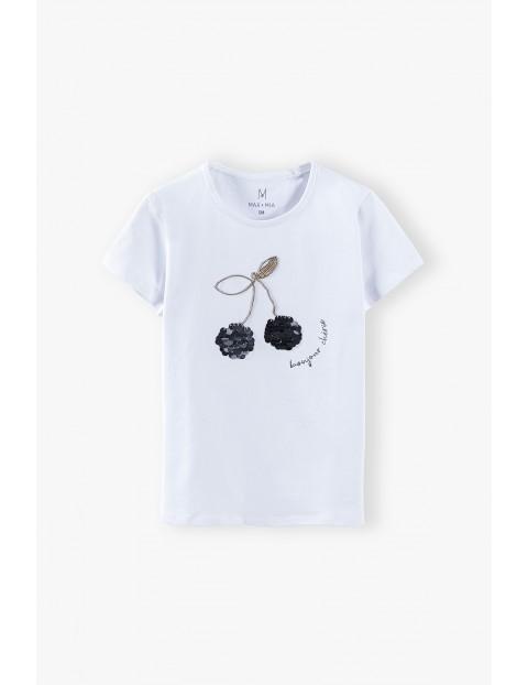 T-shirt dziewczęcy z wisienkami - biały