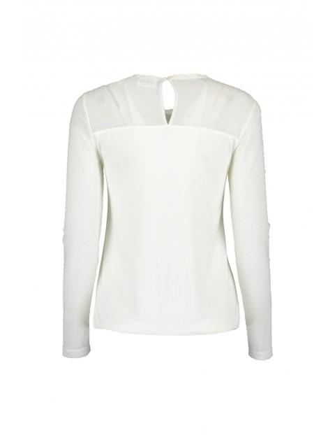 Dzianinowa bluzka damska  - biała