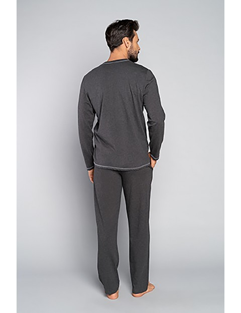 Bawełniana piżama męska z długim rękawem z napisem Italian Fashion - szara
