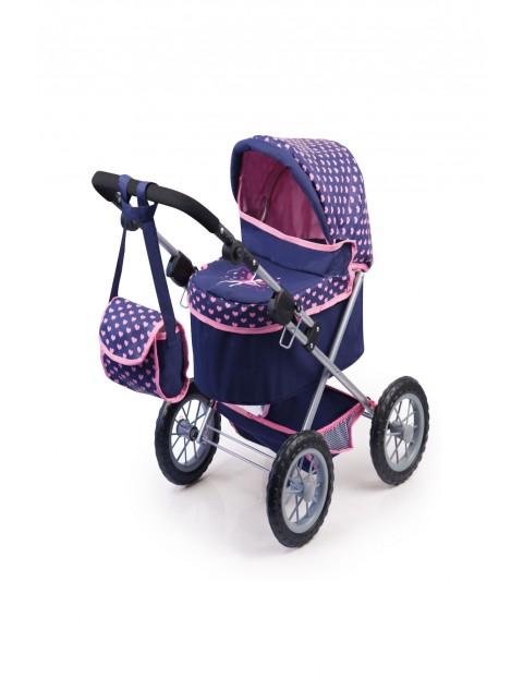 Wózek dla lalek granatowy w różowe serduszka