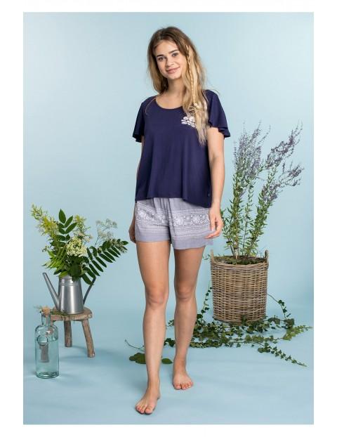 Przewiewna piżama kobieca - granatowa koszulka i szorty