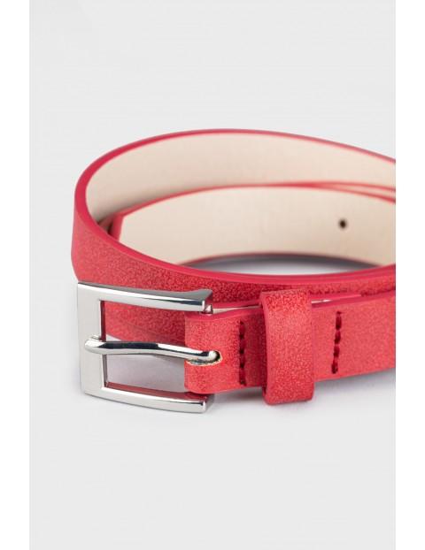 Elegancki pasek z kwadratową klamrą- czerwony