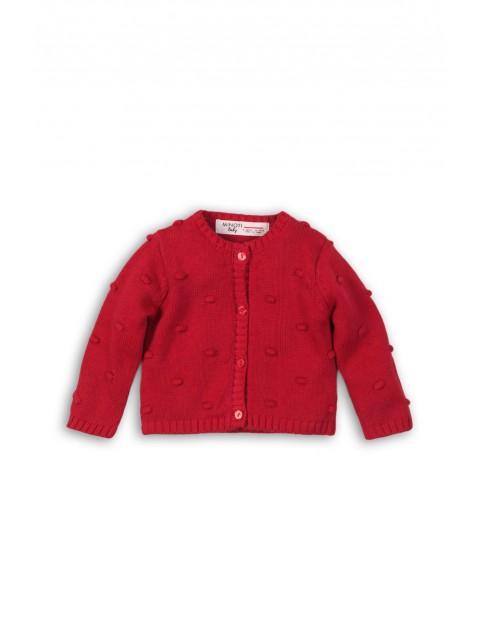 Sweter dziewczęcy zapinany na guziki-czerwony