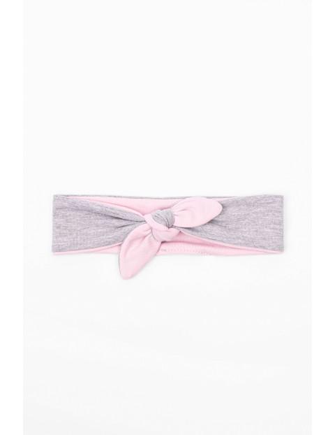 Szaro - różowa opaska na głowę dla niemowlaka