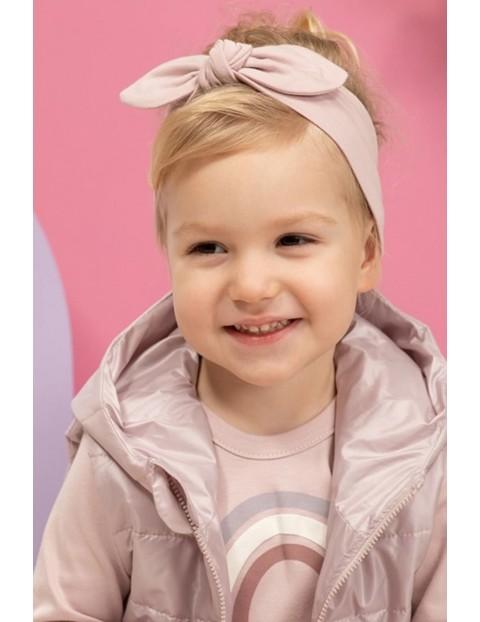 Opaska niemowlęca różowa z kokardką