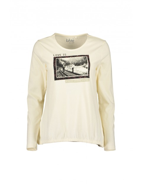 Dzianinowa koszulka damska z nadrukiem - ecru
