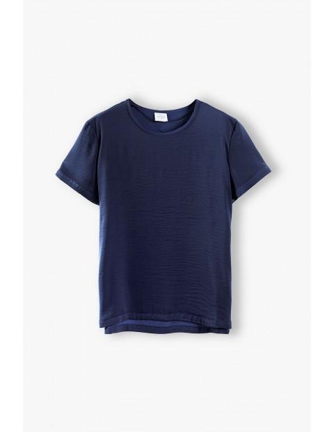 Tkaninowa bluzka damska- granatowa