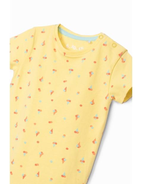 Body dziewczęce we wzorki - zółte