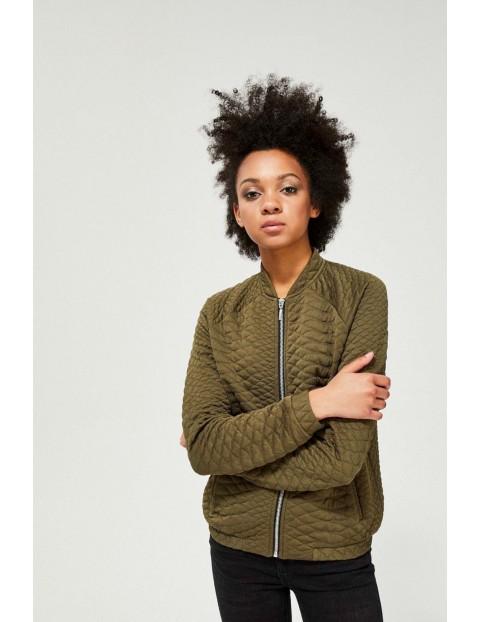 Bluza damska pikowana typu bomberka w kolorze oliwkowym