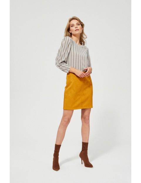 Musztardowa spódnica damska ołówkowa