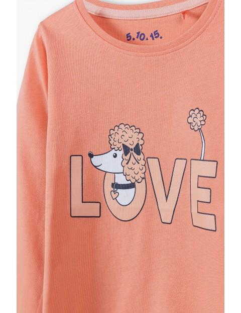 Bawełniana bluzka dziewczęca na długi rękaw z napisem Love