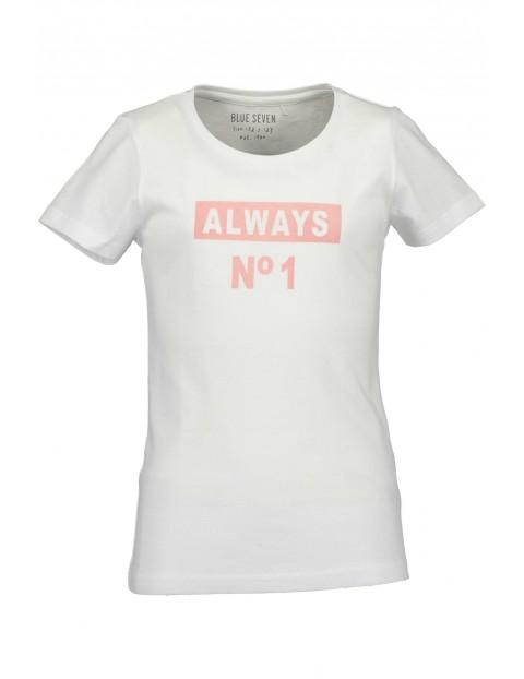 T-Shirt dziewczęcy biały z różowym napisem