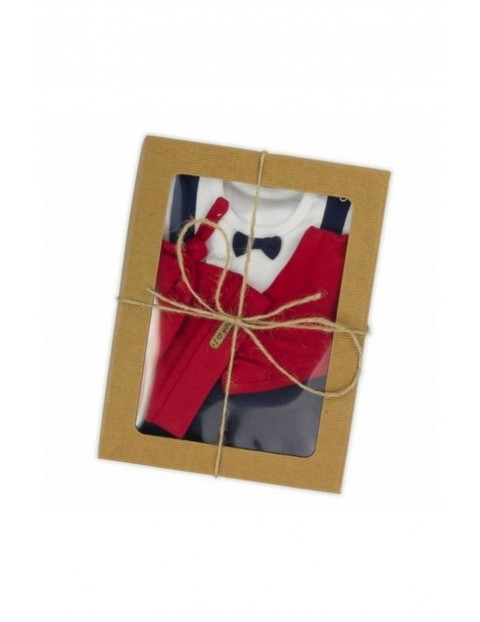 Komplet świąteczny dla chłopca  czapka, apaszka, body, spodnie